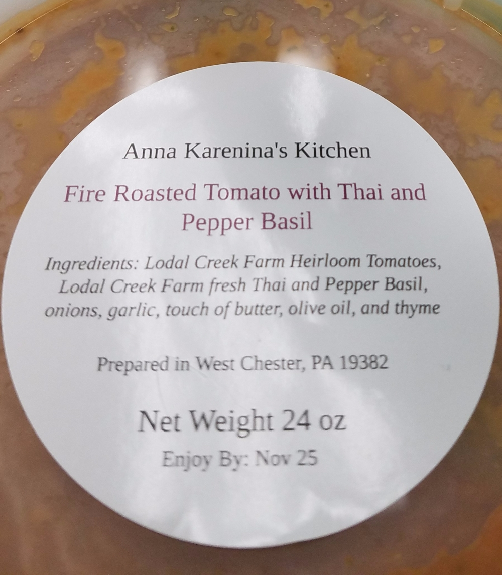 Lodal Creek Farm Thai & Pepper Basil Fire Roasted Tomato Basil Bisque from Anna Karenina's Kitchen