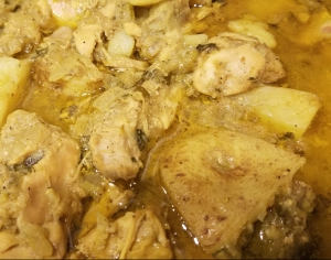 Jamaican Style Curry Chicken Fragrant with Cumin, Coriander and Fenugreek, plus a good helping of garlic and ginger
