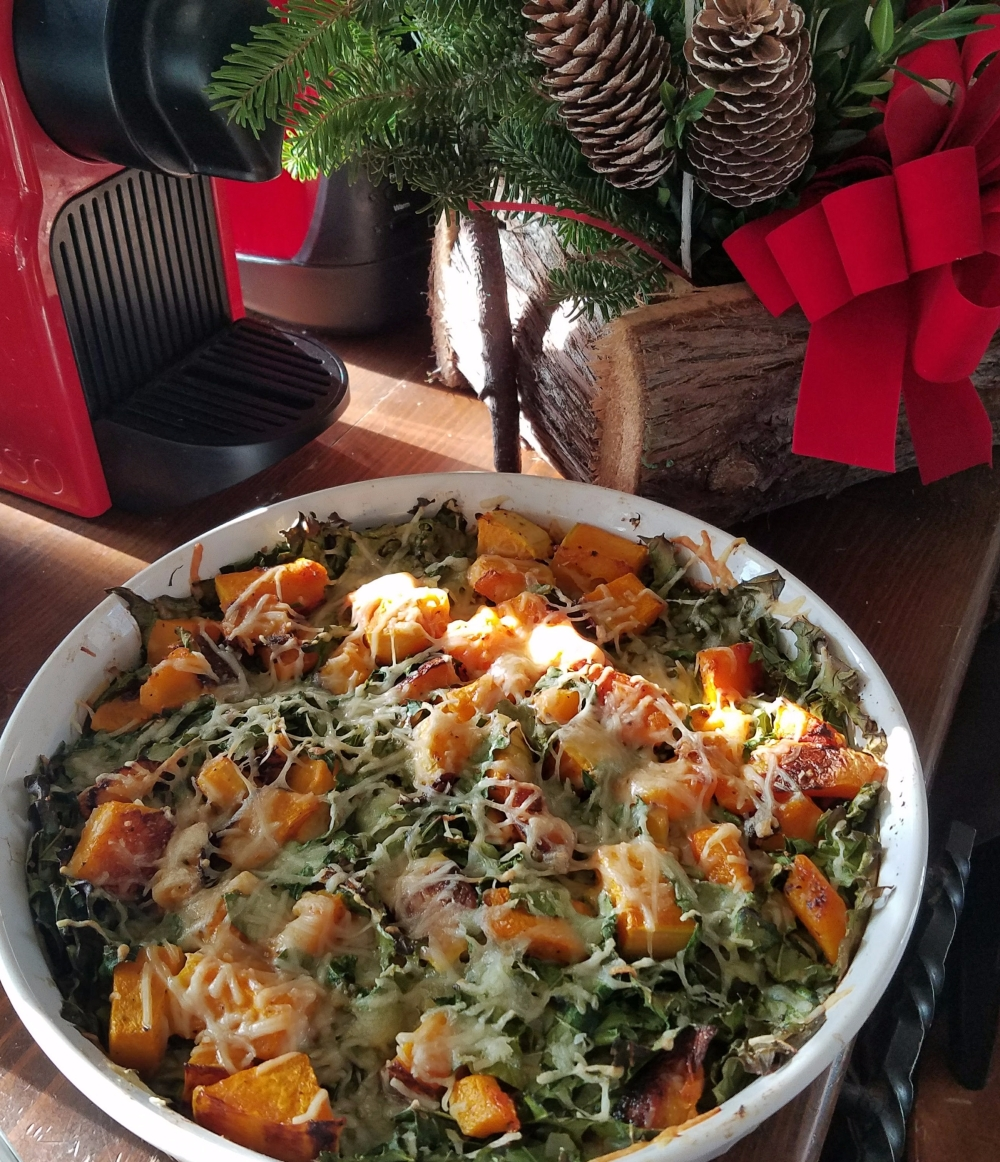 Butternut Squash and Kale Gratin on the Holiday Side Table